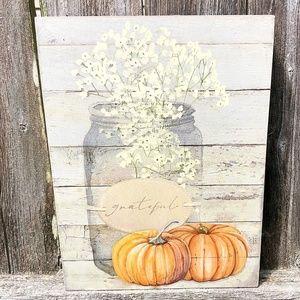 Grateful Mason Jar & Pumpkins Box Sign